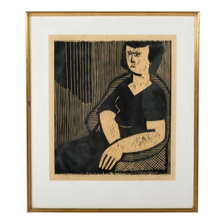Lino-Cut Portrait of a Woman 1955 For Sale