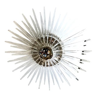 Quincy Small Flush Mount in Polished Nickel With Clear Acrylic For Sale