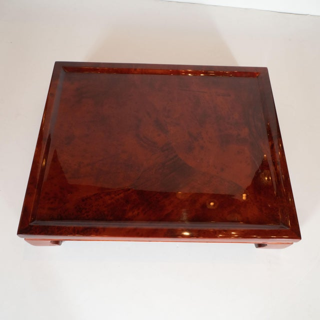 Enrique Garcel Mid-Century Modern Lacquered Goatskin Pagoda Style Bar Tray For Sale - Image 9 of 10