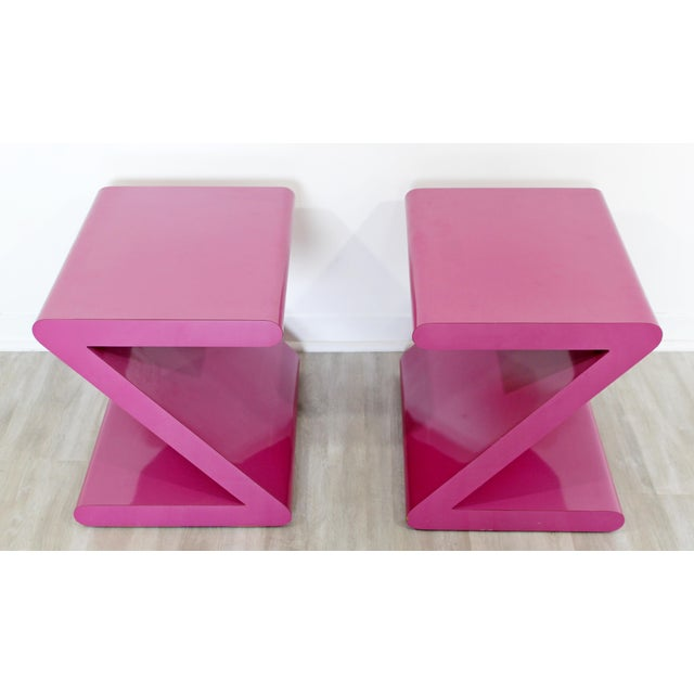 Contemporary Modern of Acrylic Z Shaped Side End Tables 1980s Pink - a Pair For Sale In Detroit - Image 6 of 11
