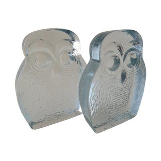 Vintage Blenko Glass Owl Bookends- A Pair For Sale