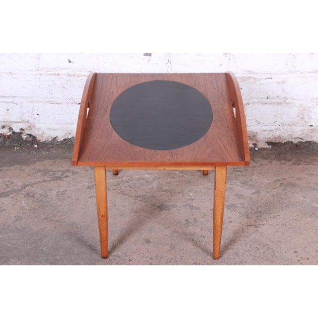 Paul McCobb for Lane Signature Collection Walnut and Leather Occasional Side Table For Sale - Image 9 of 11