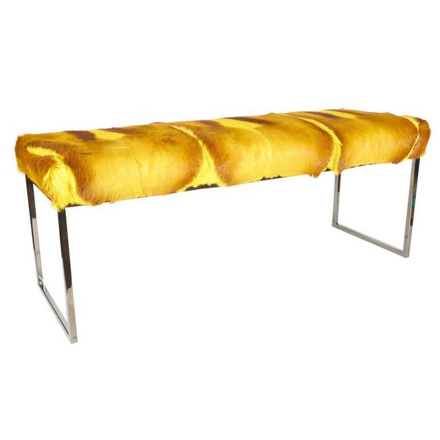 Gold Organic Modern African Springbok Fur Bench in Vibrant Yellow For Sale - Image 8 of 9