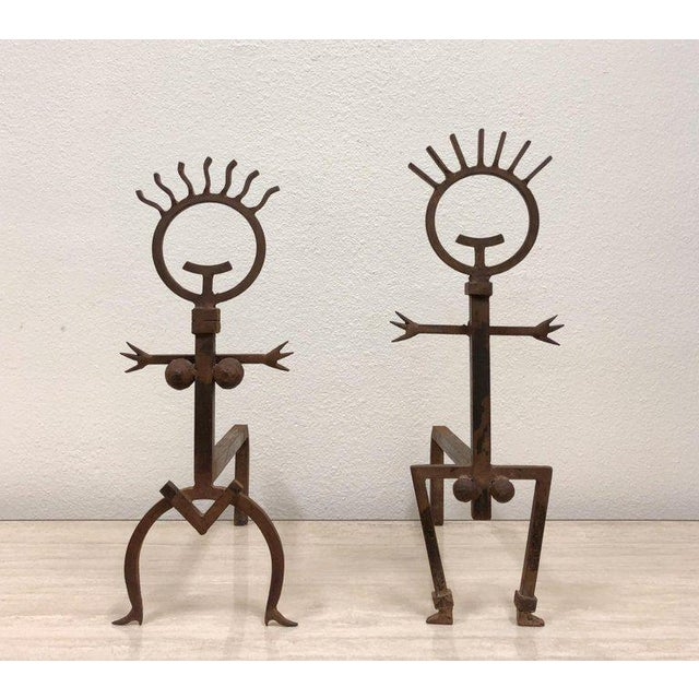 Brutalist Pair of Brutalist Male and Female Fireplace Andirons For Sale - Image 3 of 6