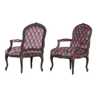 Pair of Antique French Louis XV Style Painted Armchairs, France Circa 1895