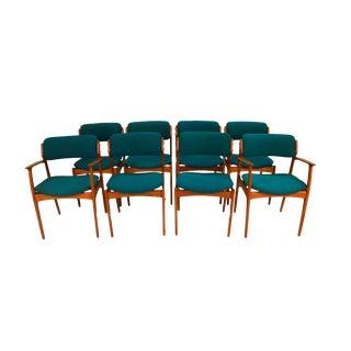 Mid Century Erik Buch for Oddense Maskinsnedkeri A/S Teak Dining Chairs Model 49 For Sale