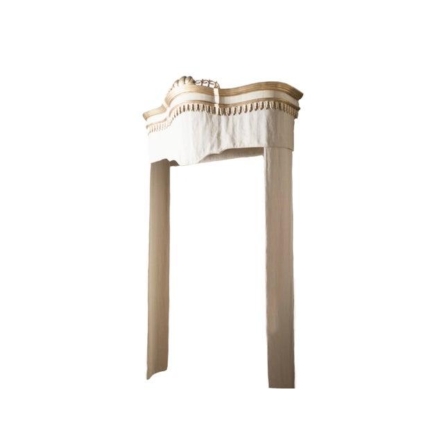 Hand-carved birch cornice An exact replica of an 18th century piece 100% linen panel