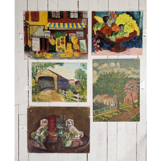 Lot of Mid-Century Folk Art, Oil Paintings on Canvas Board by Artist Blanche Waterstreet; Lot of 5 For Sale - Image 13 of 13