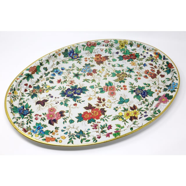 Vintage Chintz Floral Metal Tray by Daher For Sale - Image 11 of 11