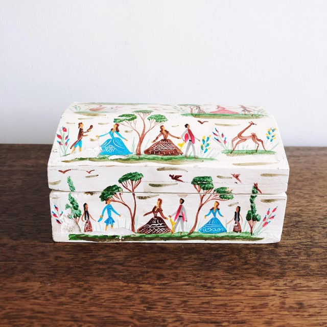 Vintage Mexican Folk Art Hand Painted Wood Box For Sale - Image 9 of 9