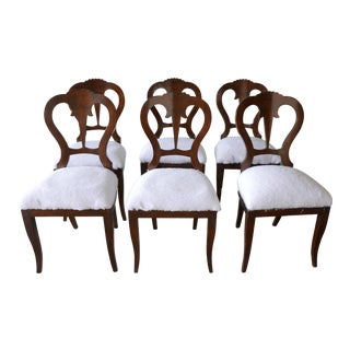 Antique Wood Dining Chairs - Set of 6