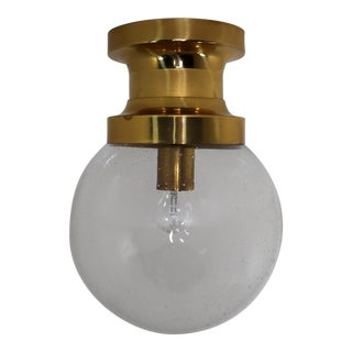Mid Century Ceiling Light With Brass Frame and Large Hand Blown Glass Globe 1960s For Sale
