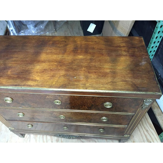 19th Century 3 Drawer Commode with Gilt Accents. WIDTH: 39¾ in | HEIGHT: 33¾ in | DEPTH: 18 in