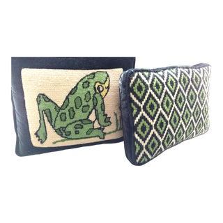 1960s Bargello Frog Diamond Pattern Pillows - a Set For Sale
