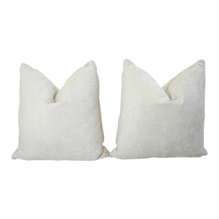 Boho Chic Bone White Crocodile Velvet Pillows - a Pair For Sale