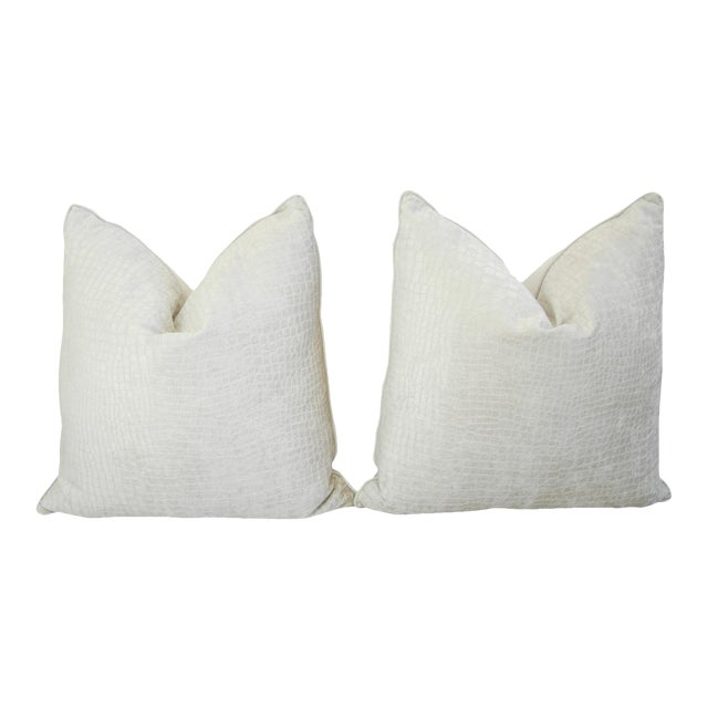 Boho Chic White Crocodile Velvet Pillows - a Pair - Image 1 of 11