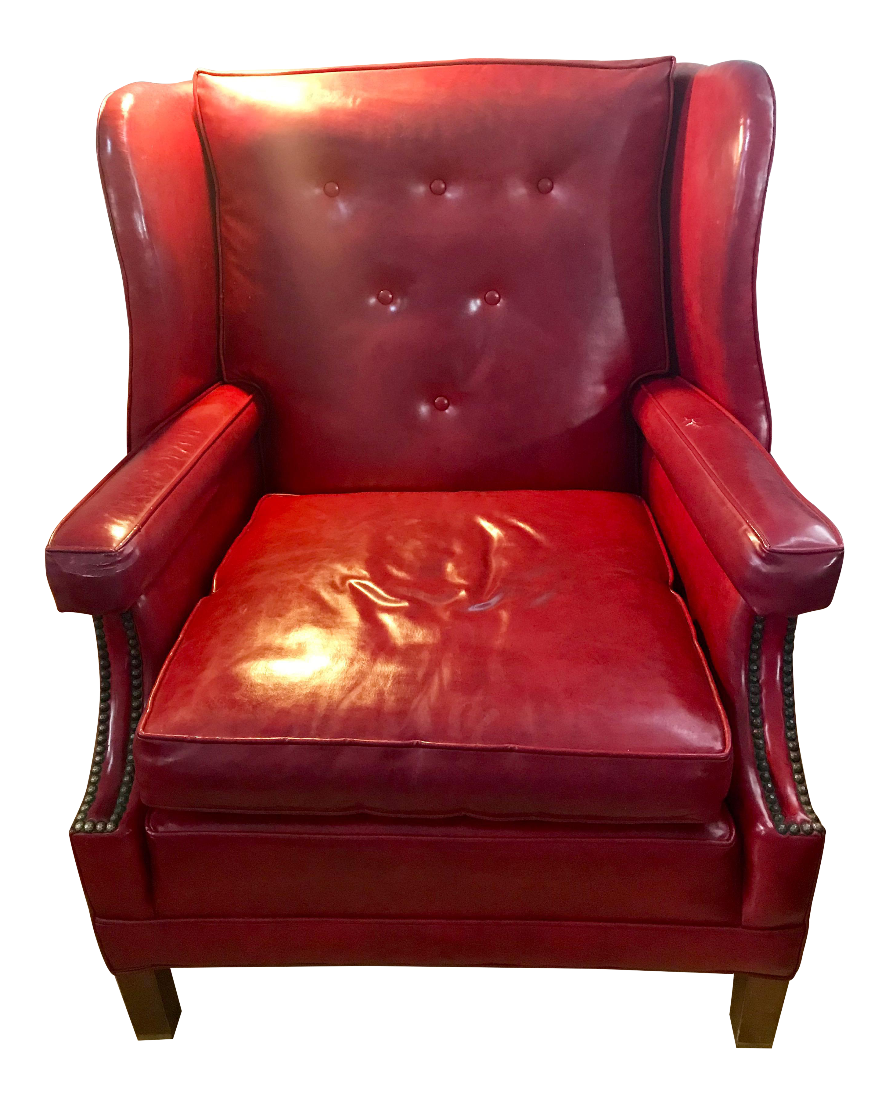 Vintage Custom Made Red Leather Wingback Chair