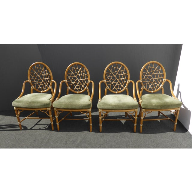 McGuire Cracked Ice Bamboo Rattan Green Suede Leather Arm Chairs - Set of 4 - Image 2 of 11