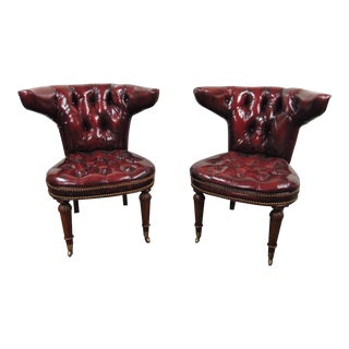 Hickory Chair Regency Cockfighting Style Leather Tufted Chairs - a Pair For Sale