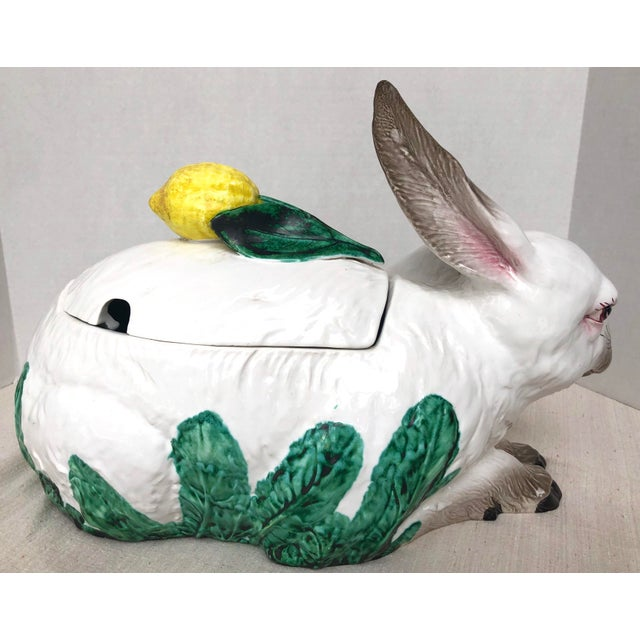 Fabulous Italian oversized Rabbit tureen with a large lemon handle to the lid. Made in Italy around 1970-1980. Very good...