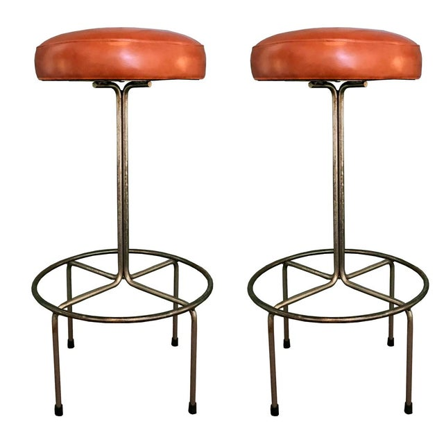 Empiric Bar Stool in Cognac Leather - a Pair - Image 1 of 3