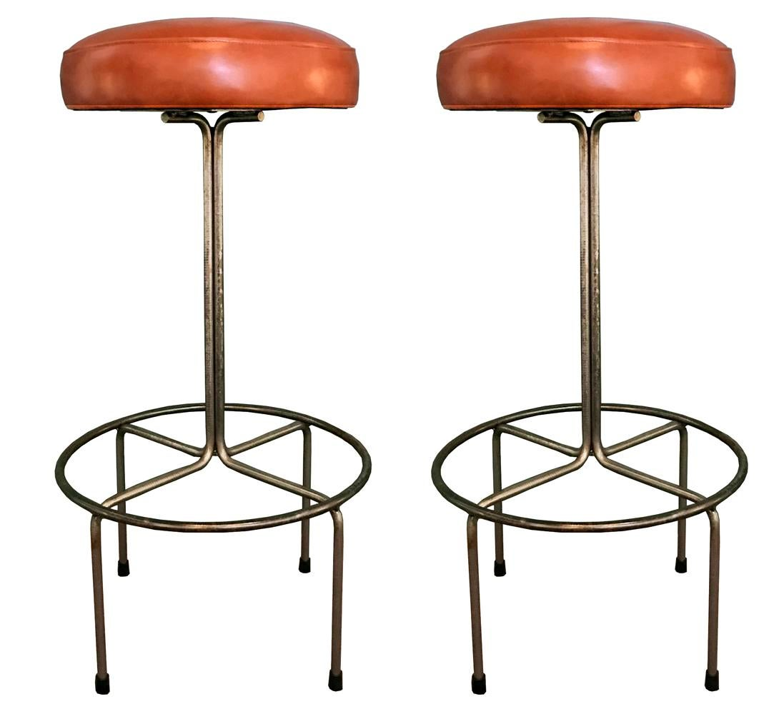 Incroyable Empiric Bar Stool In Cognac Leather   A Pair