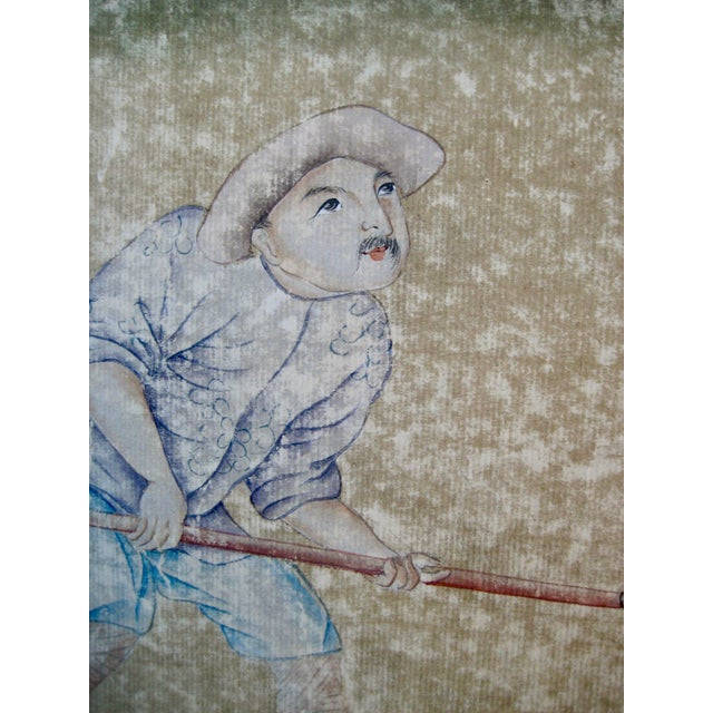 19th Century Chinese Hand Painted Wallpaper Panel, Framed For Sale - Image 10 of 13