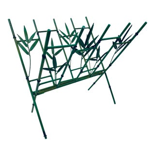 Mid-Century Faux Bamboo Metal Magazine Rack For Sale