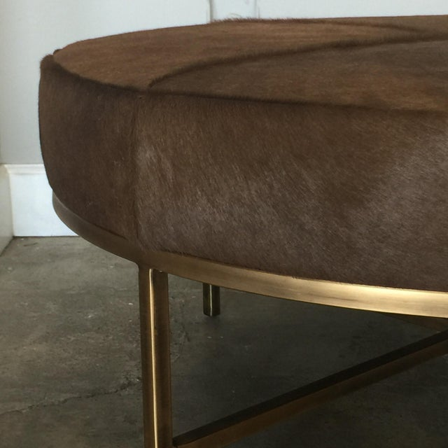 Modern Medium 'Tambour' Antiqued Brass and Hide Ottoman by Design Frères For Sale - Image 3 of 7