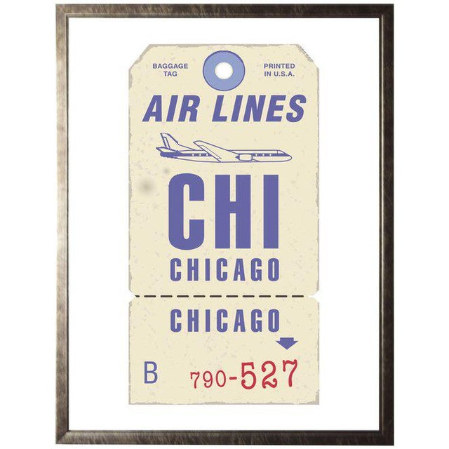 Chicago Travel Ticket in Pewter Shadowbox