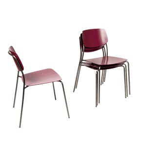 Dietiker Aubergine Wine Felber C18 Patio Chairs -Set of 4 For Sale