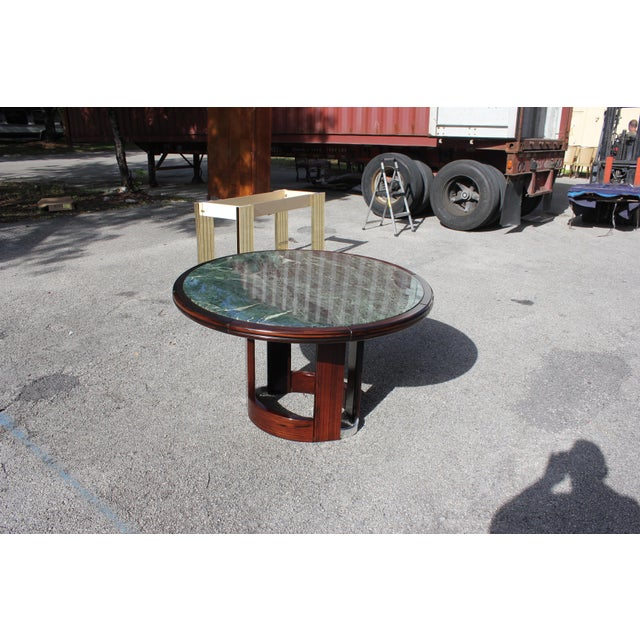 French Art Deco Macassar Ebony Round Center Table With Green Marble Top For Sale - Image 12 of 13
