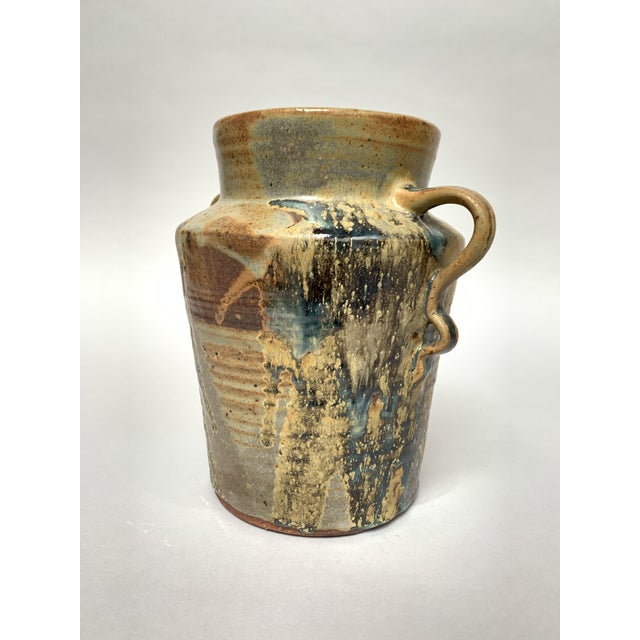 1970s 1970s Vintage Two-Handled Studio Pottery Vase For Sale - Image 5 of 12
