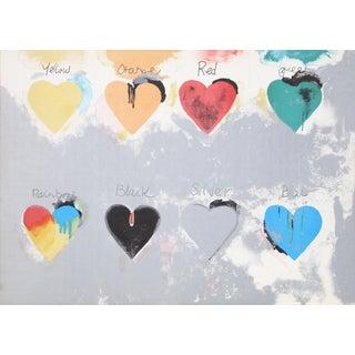 Jim Dine - Rainbow Hearts Screenprint For Sale