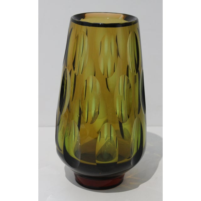 Glass Mid-Century Modern Swedish Vase With Optic Ovals - Smokey Olive Green For Sale - Image 7 of 12
