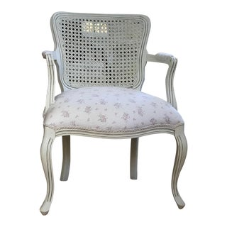 Late 20th Century French Provincial Style Caned Armchair For Sale