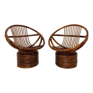 Pair of Saucer Form Swivel Lounge Rattan Chairs, Circa 1960s For Sale