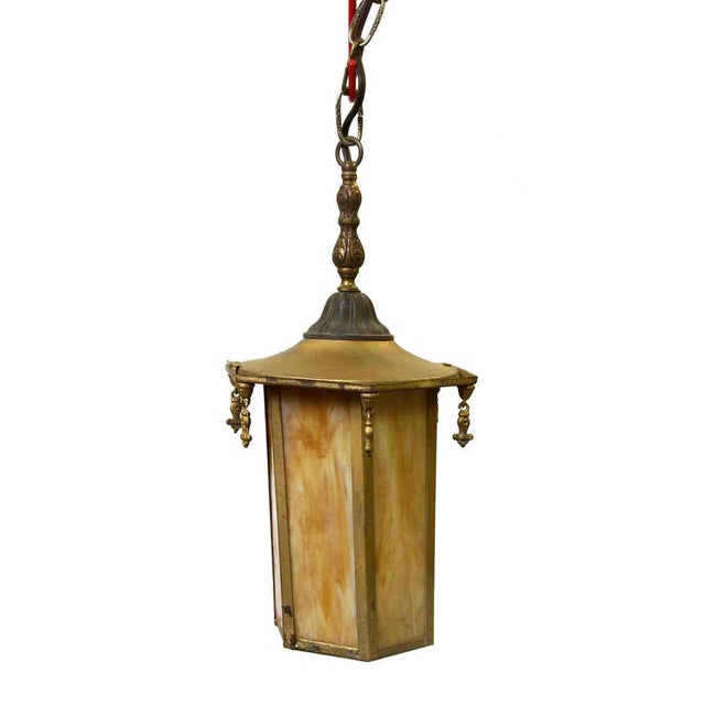 Glass Orange Slag Glass & Brass Lantern For Sale - Image 7 of 8