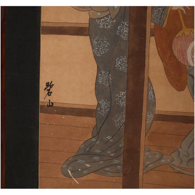 Metal Late Meiji Era Ukiyo-E Style Large Japanese Screen For Sale - Image 7 of 11