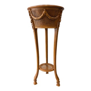 Vintage Cane and Carved Wood Standing Planter For Sale