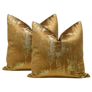 """22"""" Gilded Velvet Pillows - a Pair For Sale"""