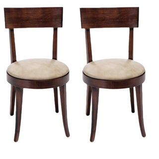 Sarried Ltd Wooden Round Back Chairs - A Pair For Sale