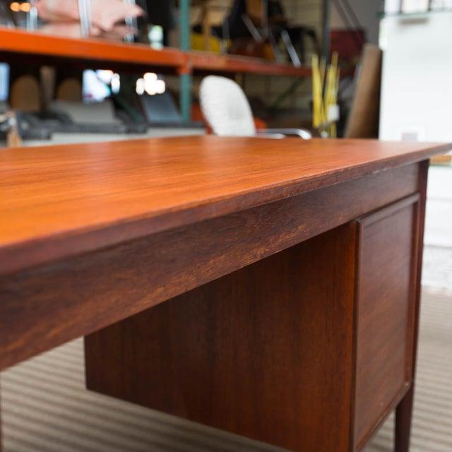 Wood Arne Vodder Style Single Pedestal Drop-Leaf Teak Desk For Sale - Image 7 of 10