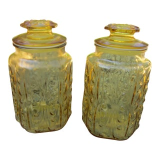 Vintage Le Smith Atterbury Scroll Amber Glass Canisters - a Pair For Sale