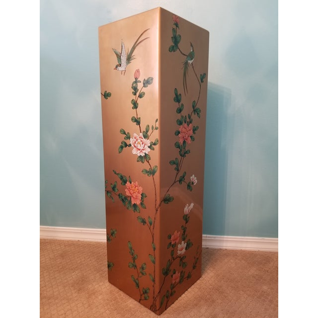 Vintage Gold Tone Hand Painted Lacquered Display Pedestal For Sale - Image 4 of 6