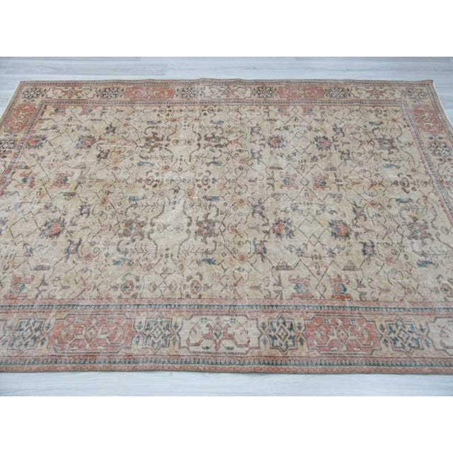 Vintage Turkish Oushak Distressed Rug- 6′7″ × 9′8″ For Sale - Image 4 of 12