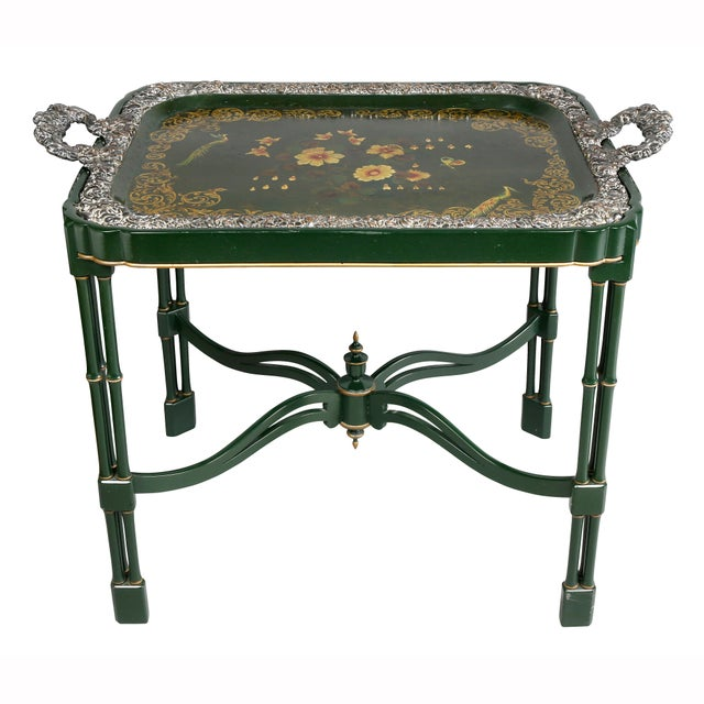 Rectangular green tray with floral decoration, Sheffield plated border and handles, the base with cluster columns.