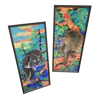 Vintage Mid-Century Acrylic on Silk Greek Key Framed Leopard and Tiger Panels - A Pair For Sale