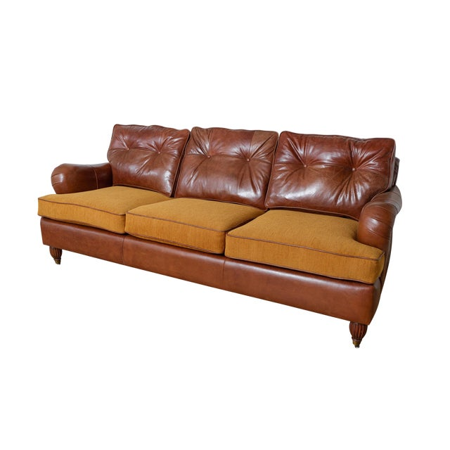 English Rolled Arm Sofa With Genuine Leather For Sale
