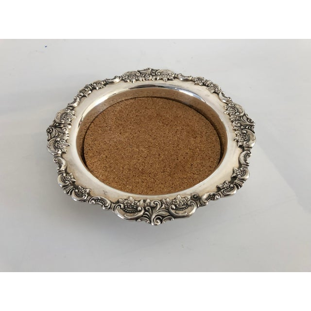 """Metal Vintage Silver Plate """"Baroque by Wallace """" Wine Coaster For Sale - Image 7 of 7"""